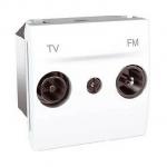 Розетка R-TV/SAT за системи със серийно разпределение, междинна в серия, двумодулна, Бял