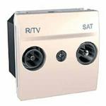 Розетка R-TV/SAT за системи със серийно разпределение, междинна в серия, двумодулна, Слонова кост