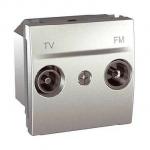 Розетка R-TV/SAT за системи със серийно разпределение, междинна в серия, двумодулна, Алуминий