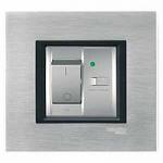 Ключ с вградена дефектнотокова защита, 10 A (l∆n 10 mA), двумодулен, Бял