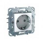 Механизъм контактен излаз Шуко, с монтажна рамка Zamak, 16 A 250 V, Бял