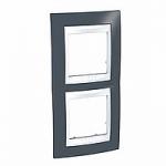 Двойна рамка за вертикален монтаж Unica Plus, Тъмно сив/Бял