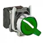 Светещ превключвател със стандарта дръжка (1 N/O + 1 N/C) зелен