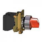 Светещ превключвател със стандарта дръжка (1 N/O + 1 N/C) червен