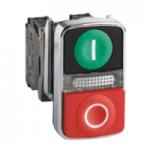 Светещ бутон с две глави пускова/изпъкнала (1 N/O + 1 N/C) черен