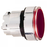 Червена глава за бутон наравно с повърхността, BA9s с обикновенна леща, без маркировка