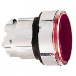 Червена глава за бутон наравно с повърхността, вграден LED с обикновенна леща, без маркировка