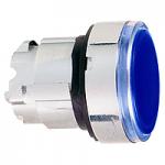 Синя глава за бутон наравно с повърхността, вграден LED с обикновенна леща, без маркировка
