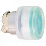 Зелена глава за бутон наравно с повърхността, вграден LED с прозрачна обвивка, несъвместим с държач за табели