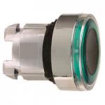 Зелена глава за бутон наравно с повърхността, вграден LED със светещ пръстен