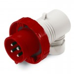 Plug EUREKA IP67, 380-440 V, 32 A, 3+E, 3 h, agled outlet