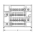 4 pole distribution block 100/125A, 1 input/6 outputs