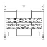 2 pole distribution block 80/100AL, 2 inputs/13 outputs