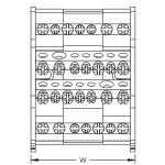 4 pole distribution block 80/100AL, 2 inputs/9 outputs