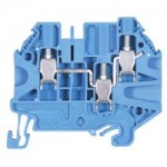 Duo feed-through and knife edge disconnect block WT 4 D1/2 Blue 4 mm²