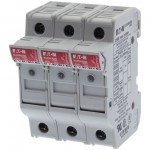 Fuse-holder, LV, 32 A, AC 690 V, 10 x 38 mm, 3P+N, UL, IEC, indicating, DIN rail mount