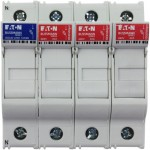 Fuse-holder, LV, 30 A, AC 600 V, 10 x 38 mm, 3P+N, UL, IEC, DIN rail mount