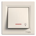 "1-pole Push-button ""light"", 10 A, with locator lamp, Cream"