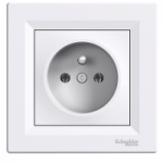 Single Socket-outlet (pin earth), White