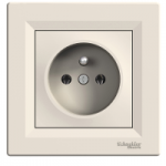 Single Socket-outlet (pin earth), Cream