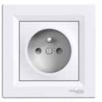 Single Socket-outlet with shutters (pin earth), White