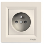 Single Socket-outlet with shutters (pin earth), Cream