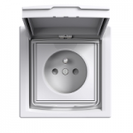 Single Socket-outlet with shutters and lid (pin earth), IP44, White