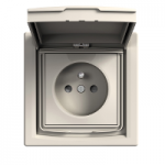 Single Socket-outlet with shutters and lid (pin earth), IP44, Cream