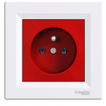 Single Socket-outlet with red center plate (pin earth), White