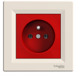 Single Socket-outlet with red center plate (pin earth), Cream