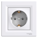Single Socket-outlet with shutters (side earth), White