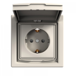 Single Socket-outlet with shutters and lid (side earth), IP44, Cream