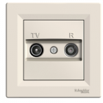 TV-R Antenna outlet IEC male + female, Ending (1dB), Cream