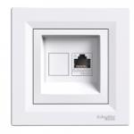 Single Data and telephone outlet RJ45 (Cat6 U/UTP), White
