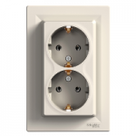 Double Socket-outlet (side earth), Cream