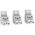 Aluminium connectors for 6 cables, set of 3