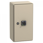 IP 55 steel enclosure, Compact NSX250 or Vigicompact NSX100-250 with black extended rotary handle