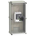 IP 55 insulating enclosure, Vigicompact NSX250 with black extended rotary handle