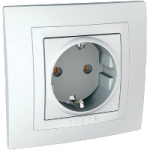 Complete SCHUKO®Socket-outlet, 16 A 2P+E, screw terminals, White