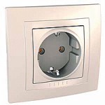 Complete SCHUKO®Socket-outlet, 16 A 2P+E, screw terminals, Ivory