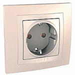 Complete SCHUKO®Socket-outlet, 16 A 2P+E, screw terminals, Ivory/Cream