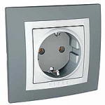 Complete SCHUKO®Socket-outlet, 16 A 2P+E, screw terminals, White/Technical grey
