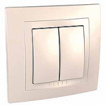 Complete double one-way Switch, 10 AX, Ivory