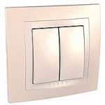 Complete double one-way Switch, 10 AX, Ivory/Cream