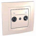 Complete TV/FM Socket for parallel distribution systems, Ivory