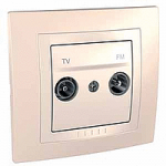 Complete TV/FM Socket for parallel distribution systems, Ivory/Cream