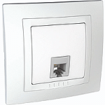 Complete Telephone Socket RJ11 with 4 contacts, White