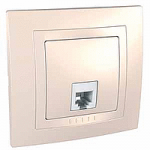 Complete Telephone Socket RJ11 with 4 contacts, Ivory