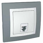 Complete Telephone Socket RJ11 with 4 contacts, White/Technical grey