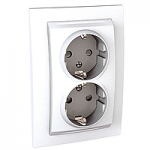 Complete double Socket-outlet, SCHUKO®, White